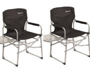 Outwell Picota Director Camping Chair with Side Table Black (Twin Pack)